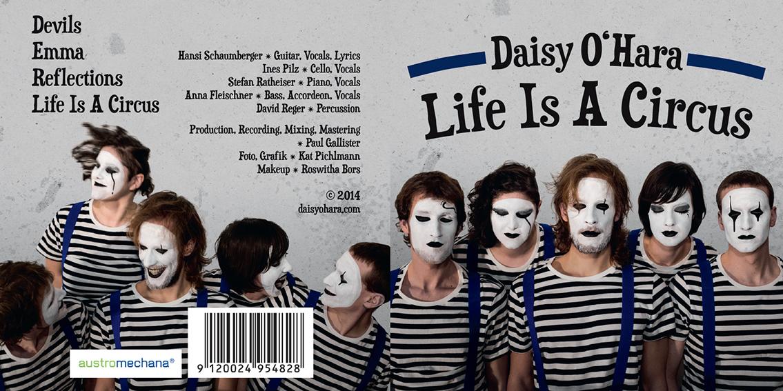 Kartontasche DaisyOHara 2014 * links: Trackliste & Credits / rechts: CDcover